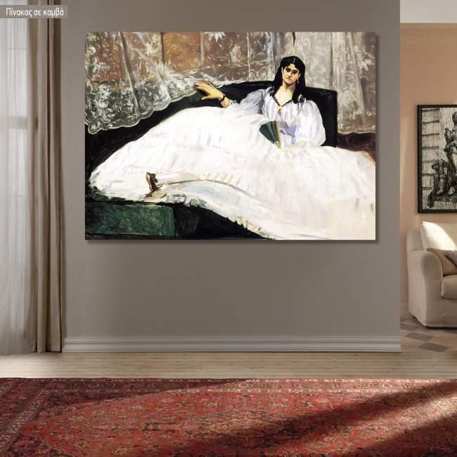 Canvas print Baudelaires mistress reclining, Manet Edouard