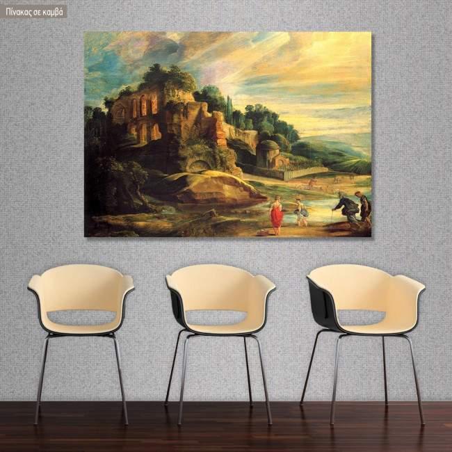 Πίνακας ζωγραφικής Landscape with ruins of Palantine, Rubens Peter Paul, αντίγραφο σε καμβά