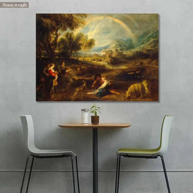 Canvas print Landscape with the rainbow, Rubens Peter Paul
