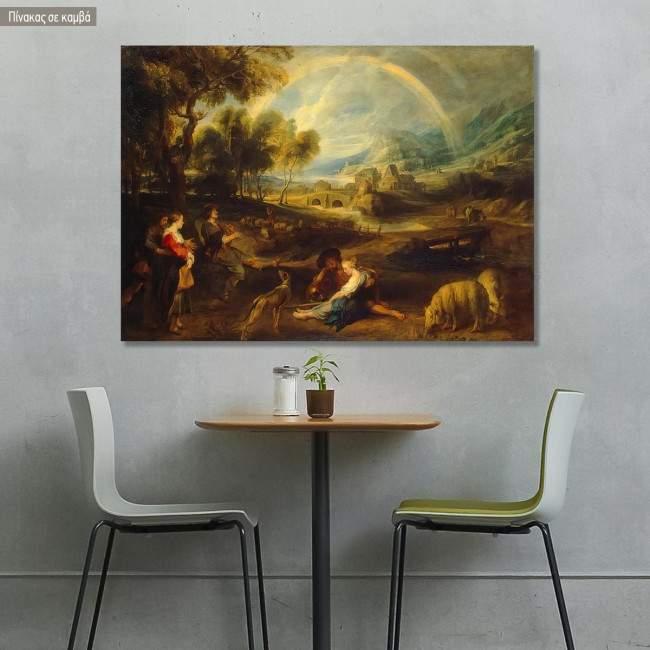 Πίνακας ζωγραφικής Landscape with the rainbow, Rubens Peter Paul, αντίγραφο σε καμβά