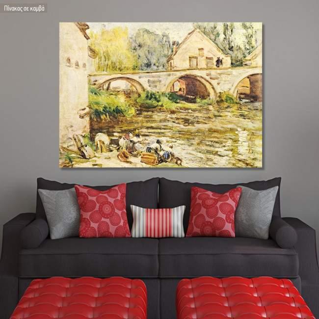 Πίνακας ζωγραφικής The laundresses of Moret, Sisley Alfred, αντίγραφο σε καμβά