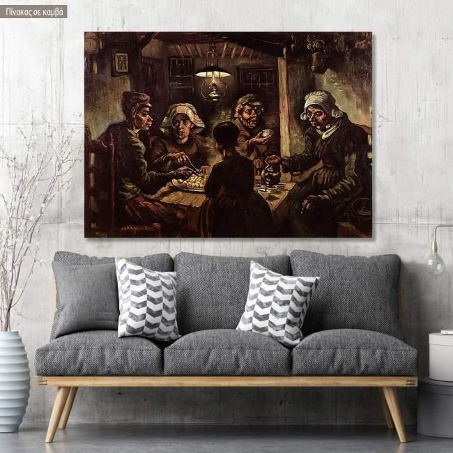 Πίνακας ζωγραφικής The potato eaters, van Gogh Vincent, αντίγραφο σε καμβά