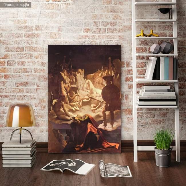 Πίνακας ζωγραφικής The dream of Ossian, Ingres Jean Augus, αντίγραφο σε καμβά
