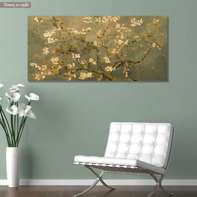 Πίνακας ζωγραφικής Blossoming almond tree (brown) detail, Vincent van Gogh, αντίγραφο σε καμβά