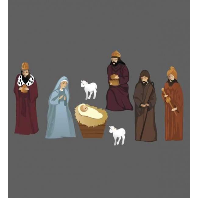 Η Μαρία  ο Ιωσήφ το Θείο Βρέφος και οι τρεις μάγοι , αυτοκόλλητες φιγούρες για φάτνη