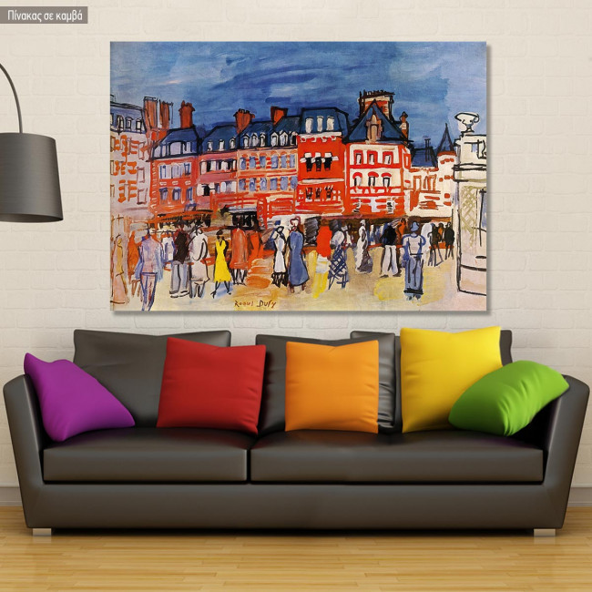 Πίνακας ζωγραφικής Houses in Trouville, Dufy R, αντίγραφο σε καμβά
