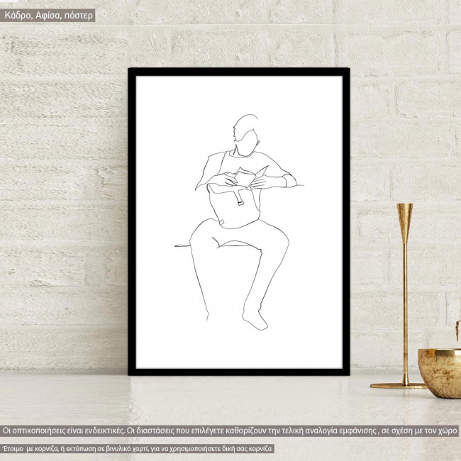 Man figure and lifestyle IX, κάδρο, μαύρη κορνίζα