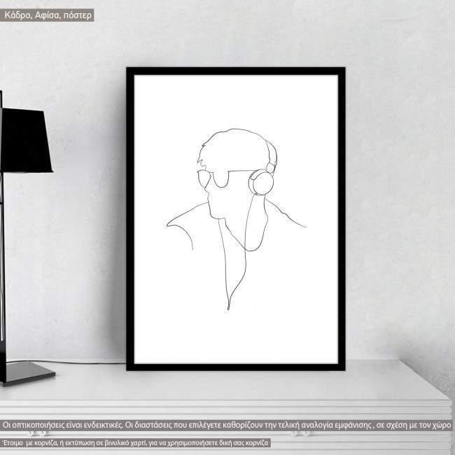 Man figure and lifestyle X, κάδρο, μαύρη κορνίζα