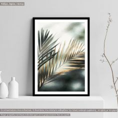 Poster Green gold leafs