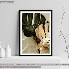 Poster Green gold leafs I