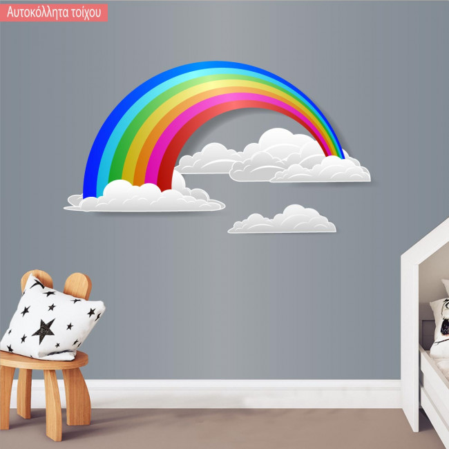 Kids wall stickersrainbow and clouds