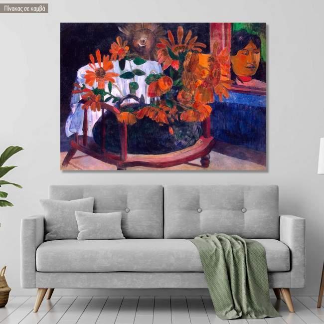 Canvas print Still life with sunflowers, Gauguin Paul