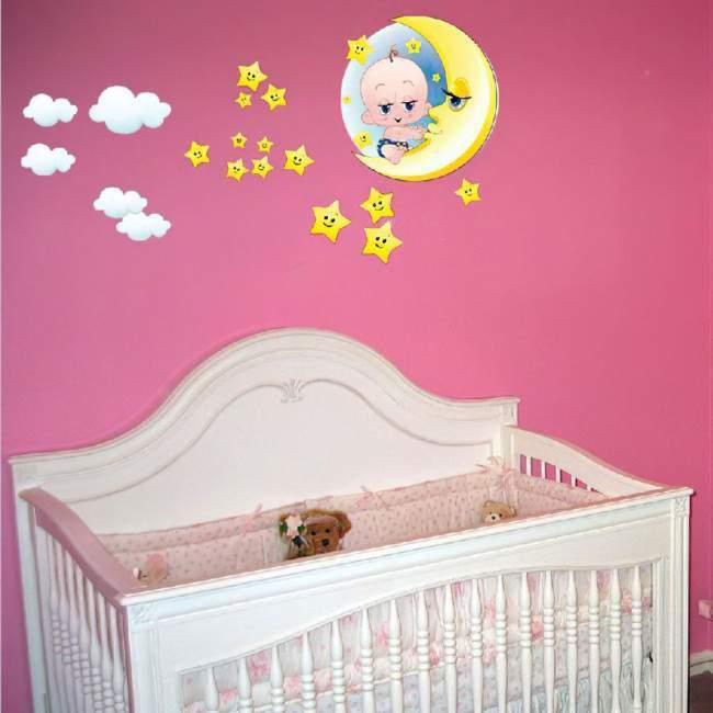 Αυτοκόλλητα τοίχου παιδικά μωράκι αγκαλιά στο φεγγάρι με αστέρια και σύννεφα, Good night baby