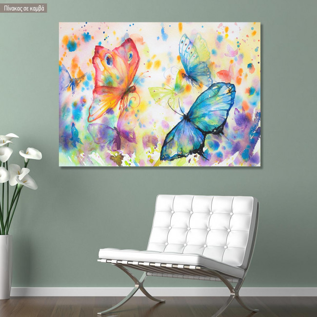 Canvas printColorful flying butterflies