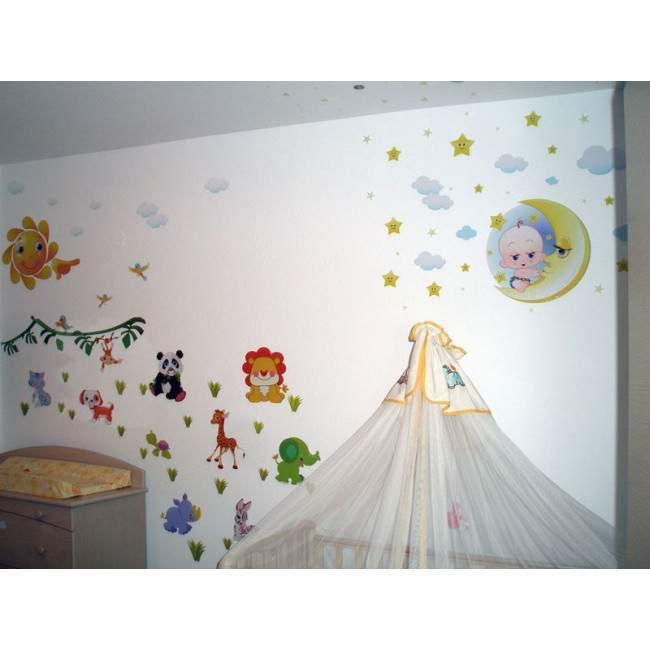 Αυτοκόλλητα τοίχου παιδικά Ζωάκια στον ήλιο και το φεγγάρι