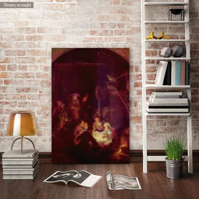 Πίνακας ζωγραφικής Adoring the holy child, Rembrandt, αντίγραφο σε καμβά