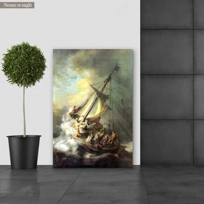 Πίνακας ζωγραφικής Christ in the storm on the lake of Galilee, Rembrandt, αντίγραφο σε καμβά