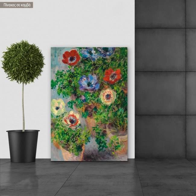 Πίνακας ζωγραφικής Anemonen, Monet Claude, αντίγραφο σε καμβά