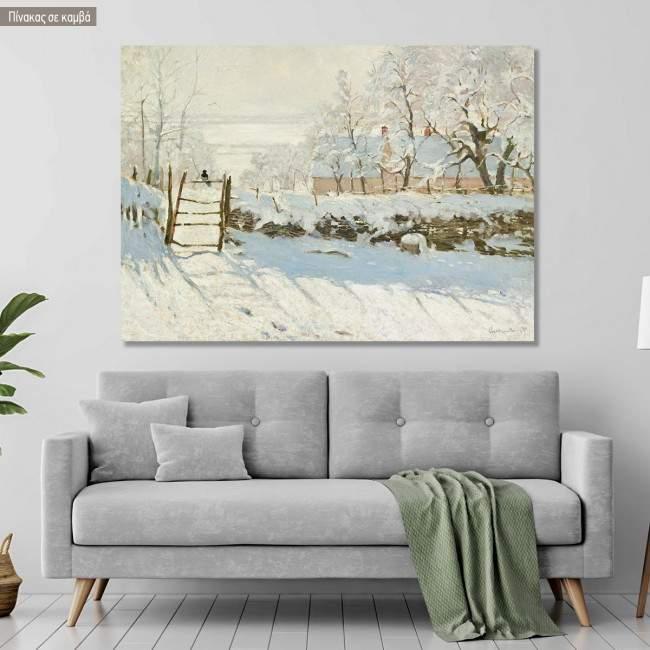 Πίνακας ζωγραφικής The magpie, Monet Claude, αντίγραφο σε καμβά