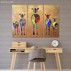 Πίνακας σε καμβά Pop art zebras, τρίπτυχος