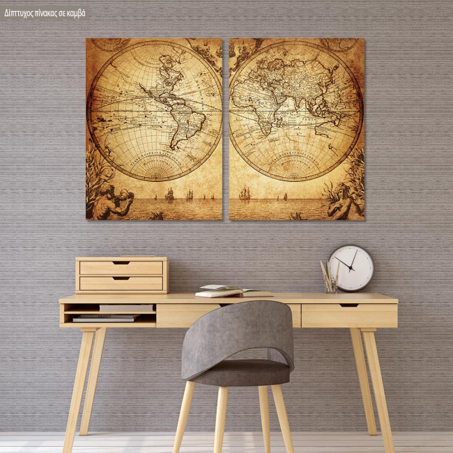 Canvas print Vintage world map 1733, two panels