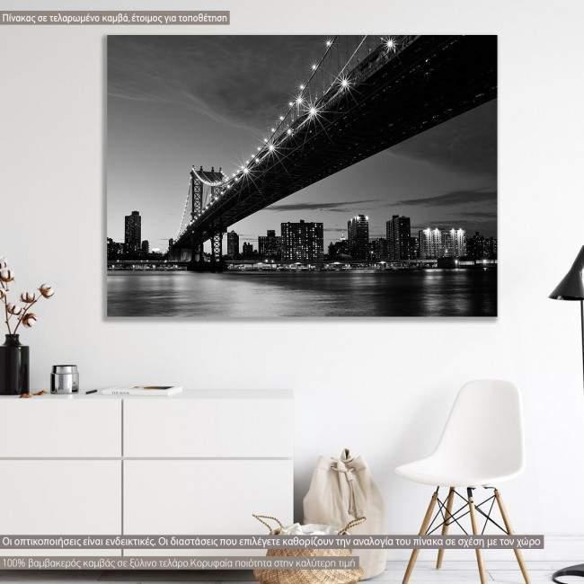 Πίνακας σε καμβά Νέα Υόρκη γέφυρα, Manhattan bridge grayscale