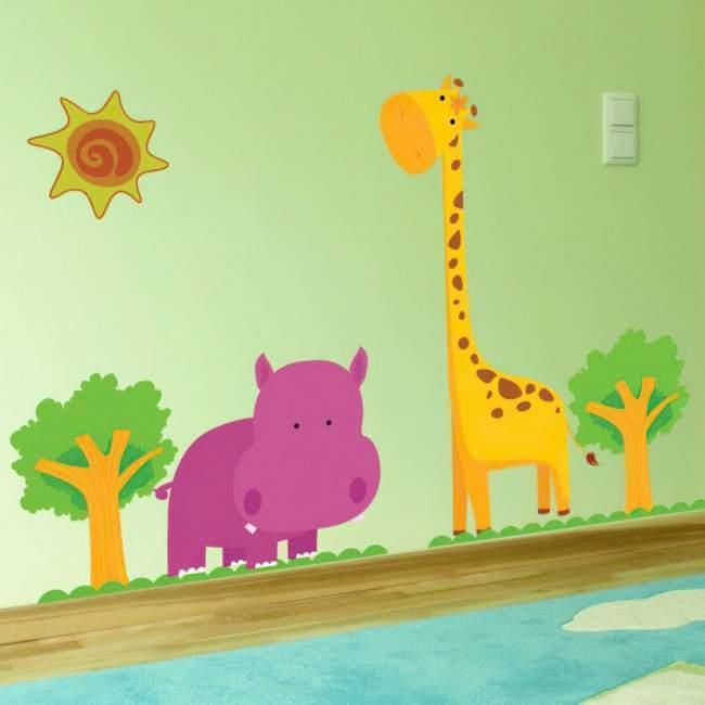Αυτοκόλλητα τοίχου παιδικά Ιπποπόταμος, καμηλοπάρδαλη,  Happy Hippo & Giraffe