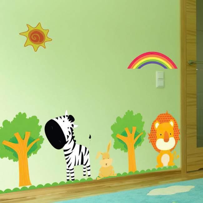 Αυτοκόλλητα τοίχου παιδικά Ζέβρα, λιοντάρι, Zebra & Lion