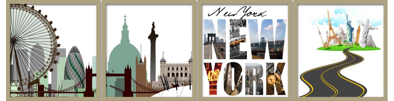 Πόλεις, κτίρια, μνημεία, αυτοκόλλητα τοίχου