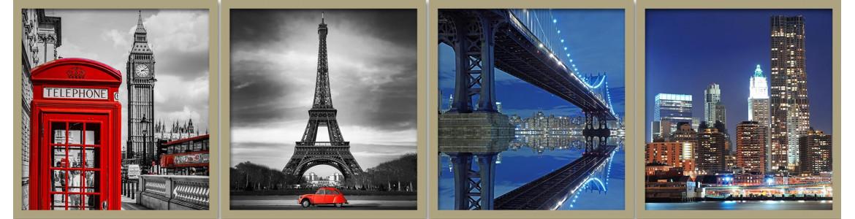 Πόλεις, γέφυρες & κτίρια σε αυτοκόλλητα - ταπετσαρίες πόρτας