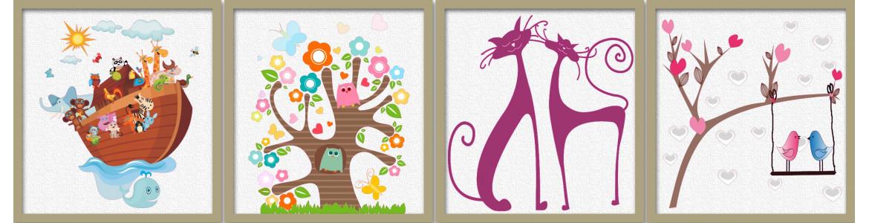 Ζώα, πουλιά, πεταλούδες σε αυτοκόλλητα τοίχου
