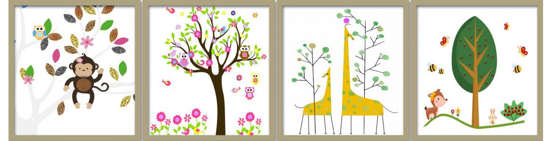 Αυτοκόλλητα τοίχου, παιδικό δωμάτιο, Δέντρα και παραστάσεις