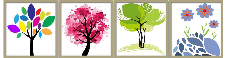 Φύση, αυτοκόλλητα τοίχου (δέντρα, κλαδιά, λουλούδια)