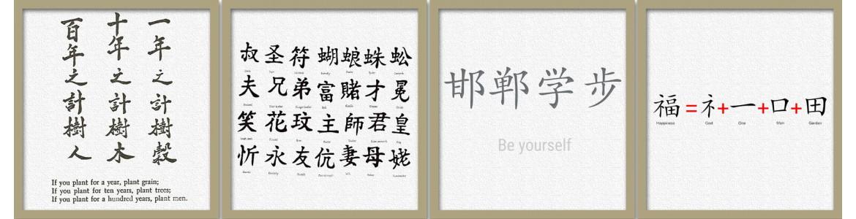 Αυτοκόλλητα τοίχου με κινέζικα ονόματα και ιδεογράμματα