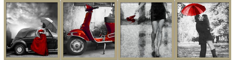 Πίνακες σε καμβά,  Red & grayscale
