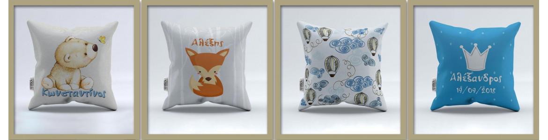 Διακοσμητικά μαξιλάρια, βαμβακερά, υποαλεργικό γέμισμα, με φερμουάρ