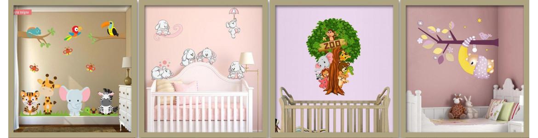 Αυτοκόλλητα τοίχου παιδικά, με ζωάκια