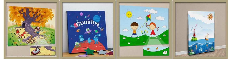 Παιδικοί πίνακες σε καμβά  με τοπία, βουνά, θάλασσα, διάστημα