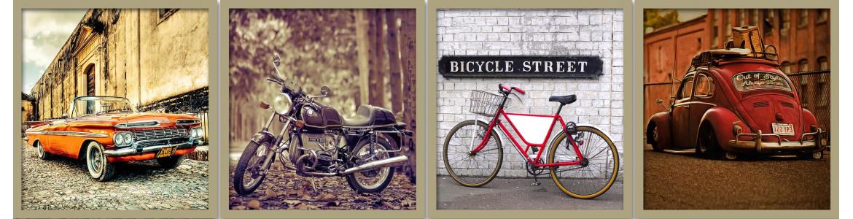 Πίνακας σε καμβά με θέμα κίνηση, αυτοκίνητα, ποδήλατα