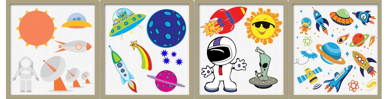 Αυτοκόλλητα τοίχου παιδικά, Διάστημα, αστρονομία