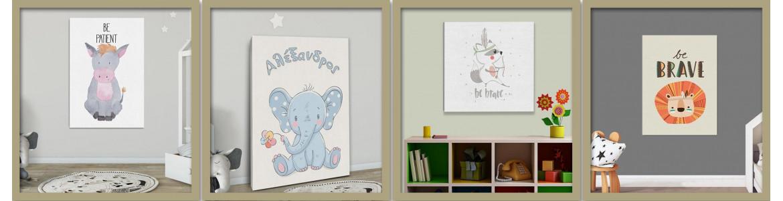 Παιδικοί - βρεφικοί πίνακες σε καμβά με ζωάκια