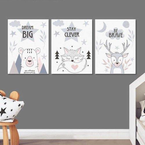 Dream big , τρίπτυχος πίνακας παιδικός