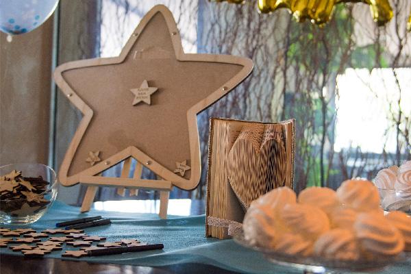 Βιβλίο ευχών βάπτισης αστέρι ξύλινο