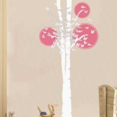 Αυτοκόλλητο τοίχου, δέντρο και πεταλούδες, Butterflies tree, λευκός κορμός