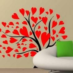Σύνθεση με φύλλα καρδιές, αυτοκόλλητο τοίχου