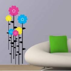 Πολύχρωμα Λουλούδια 3, αυτοκόλλητο τοίχου