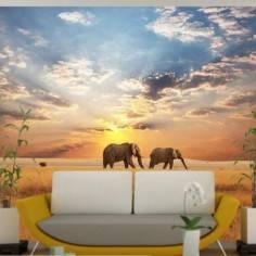 Ελέφαντες Στη Σαβάνα , φωτογραφική ταπετσαρία
