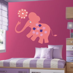 Αυτοκόλλητα τοίχου παιδικά, Ροζ ελέφαντας