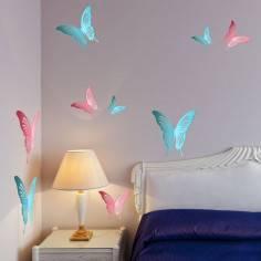 Αυτοκόλλητο τοίχου, Πεταλούδες ροζ & γαλάζιες, σετ