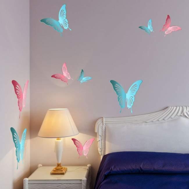 Πεταλούδες 3D ροζ & γαλάζιες, σετ,αυτοκόλλητο τοίχου